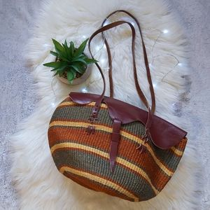 Vintage Leather and Straw Purse Hobo Purse Bag